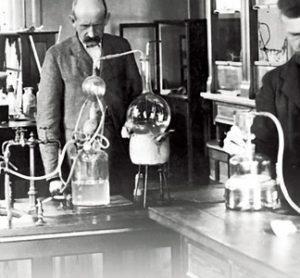 Johan Kjeldahl in his laboratory at Carlsberg