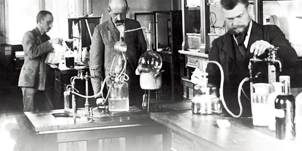 Johan Kjeldahl in his laboratory at Carlsberg
