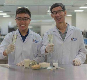 Researchers sample okara