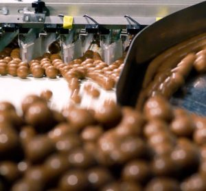 Lindt Lindor chocolates on production line