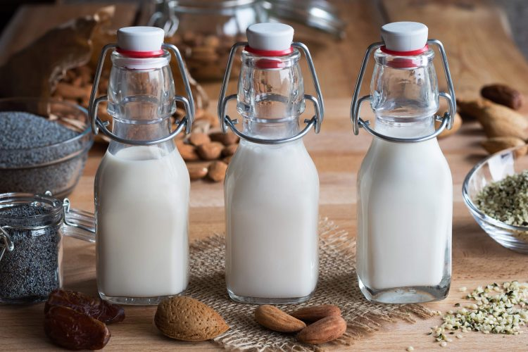 plant-based milk in bottles