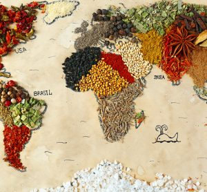 World map in food